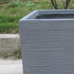 Ribbed Stone Grey Light Concrete Square Planter74708