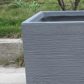 Ribbed Stone Grey Light Concrete Square Planter74709