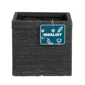 Ribbed Black Light Concrete Square Planter74711