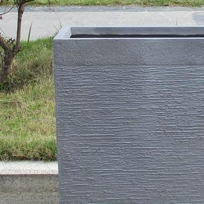 Ribbed Stone Grey Light Concrete Barrier Planter74715