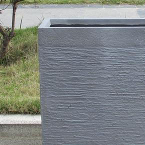 Ribbed Stone Grey Light Concrete Barrier Planter74716