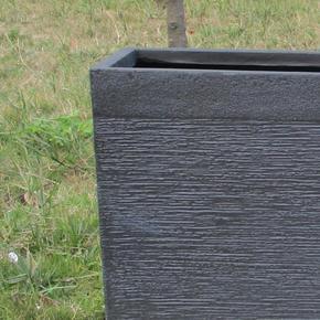 Ribbed Black Light Concrete Barrier Planter74717