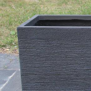 Ribbed Black Light Concrete Trough Planter74724
