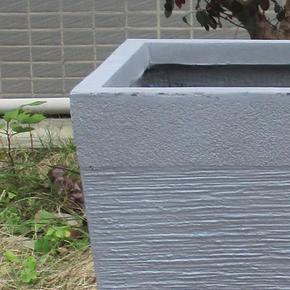 Ribbed Stone Grey Light Concrete Tapered Planter74727
