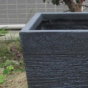 Ribbed Black Light Concrete Tapered Planter74729