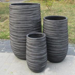 Row Black Light Concrete Vase Elegant Planter74745