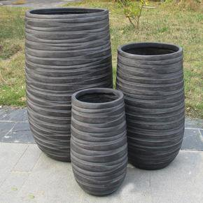 Row Black Light Concrete Vase Elegant Planter74746