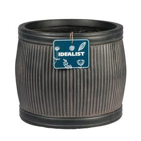 Vertical Ribbed Vintage Style Faux Lead Barrel Round Planter74751