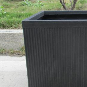 Vertical Ribbed Vintage Style Faux Lead Square Planter74768