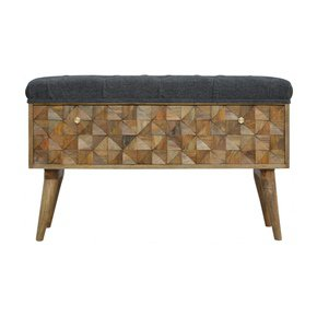 In735-Diamond-Carved-Storage-Hallway-Bench-With-Grey-Tweed-Top_Artisan-Furniture_Treniq_0