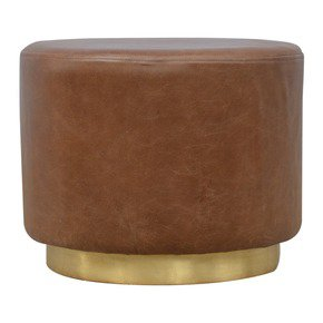 In428-Round-Brown-Buffalo-Leather-Footstool-With-Gold-Base_Artisan-Furniture_Treniq_0
