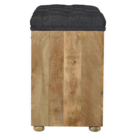 In014 Shoe Storage Bench With Upholstered Black Tweed Seat