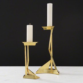 Abstract Candlestick-Brass-Lg