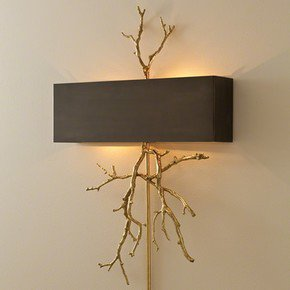 Twig Hardwired Wall Sconce-Brass On Brass W/Bronze Shade