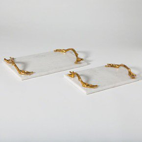 Twig Tray-Brass & White Marble-Lg
