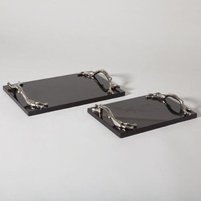 Twig Tray-Nickel & Black Granite-Lg