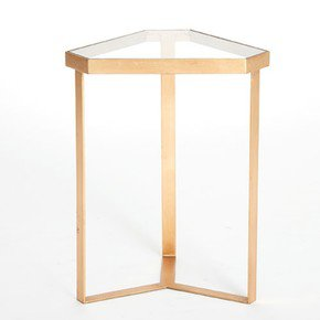 Tri-Hex Table-Gold Leaf-Glass