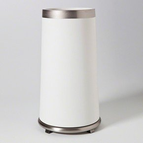 Tall Encircle Vase In White With Platinum