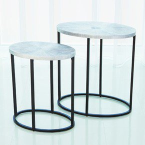 Striated Accent Table-Nickel-Lg