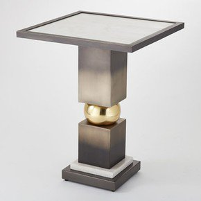 Squeeze Side Table-Bronze W/White Marble Top