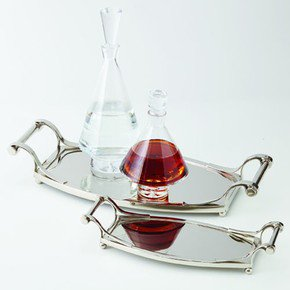 Sleek Deco Tray-Nickel-Lg