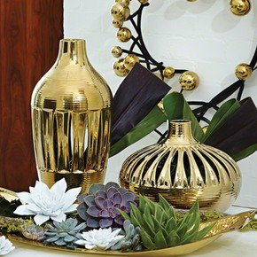Slit Vase-Gold-Tall