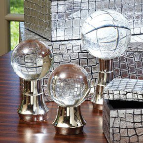 S/3 Tiered Ball Stands-Nickel