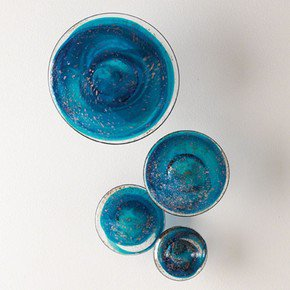 S/4 Glass Wall Mushrooms-Blue