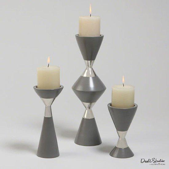 D9.90009 s 3 hourglass pillar candleholders grey