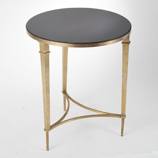 8.80604  round french square leg table brass   b