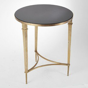 Round French Square Leg Table-Brass & Black Granite