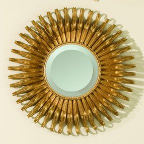 Round Gold Leaf Sunburst Mirror-Sm