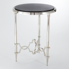 Quatrefoil Round Side Table-Nickel W/Black Granite Top