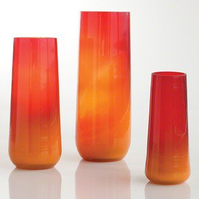 Ombre Taper Vase-Red/Orange-Med
