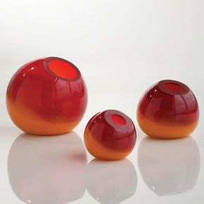 Ombre Ball Vase-Red/Orange-Lg