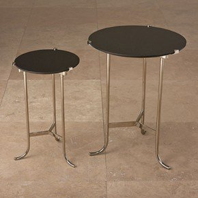 Mini Plié Table-Polished Nickel/Black Granite