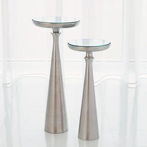 Minaret Accent Table-Satin Nickel-Sm