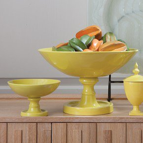 Green Grand Pedestal Bowl-Lg