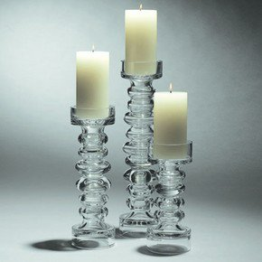 Glass Ribbed Candleholder/Vase-Sm