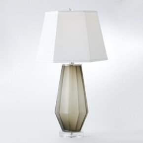 Fluted Urn Frosted Lamp-Grey