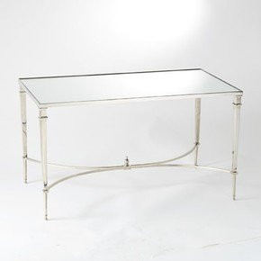 French Square Leg Cocktail Table-Nickel & Mirror