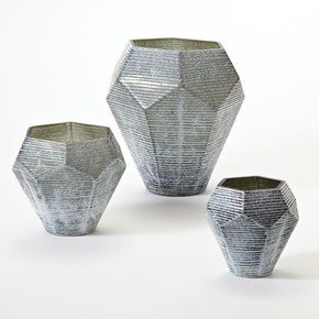 Faceted Stria Vase-Grey-Lg