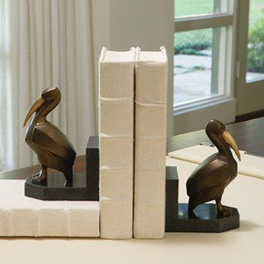 Deco Pelican Bookends - Pair
