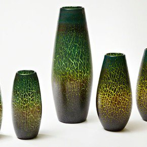 Crackled Vase-Emerald-Lg