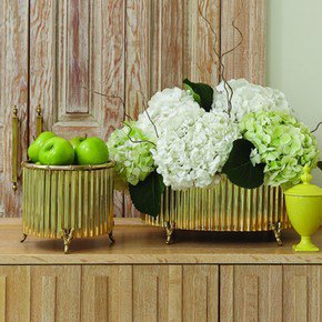 Corrugated Bamboo Cachepot-Brass-Med