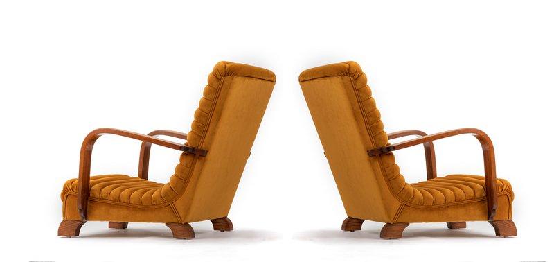 The streamline moderne deco club lounge chairs.  rhubarbchairs treniq 1 1558435300985