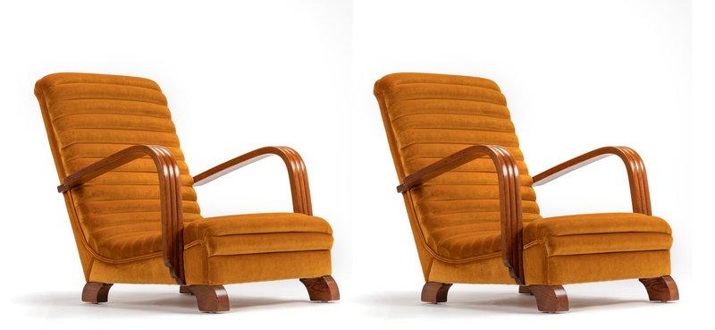 The streamline moderne deco club lounge chairs.  rhubarbchairs treniq 1 1558435312433