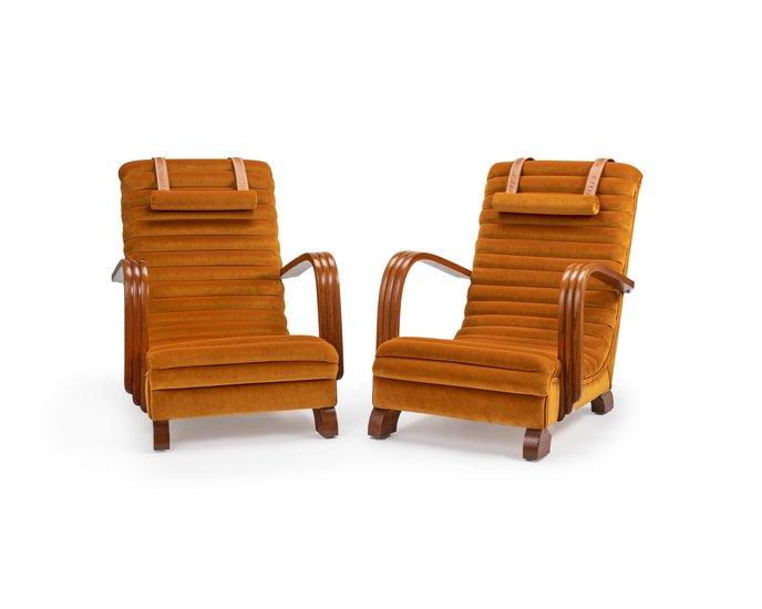 The streamline moderne deco club lounge chairs.  rhubarbchairs treniq 1 1558435322829