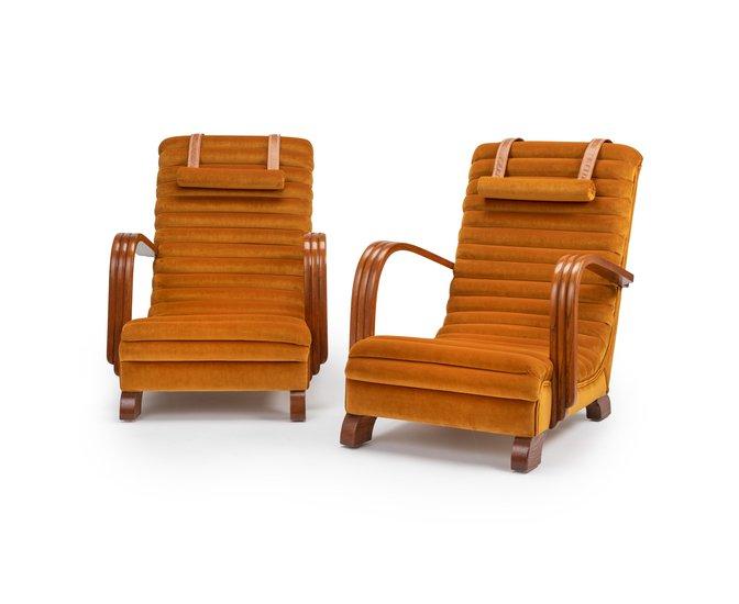 The streamline moderne deco club lounge chairs.  rhubarbchairs treniq 1 1558435330552
