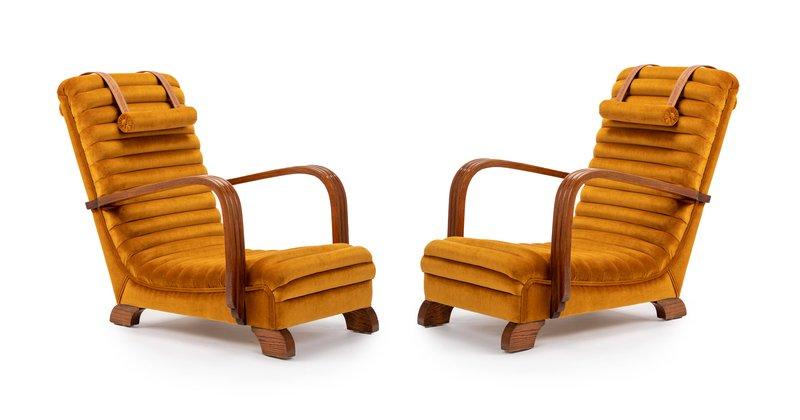 The streamline moderne deco club lounge chairs.  rhubarbchairs treniq 1 1558435343268
